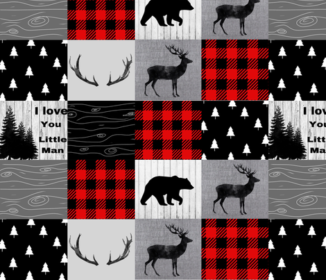 Mountain quilt - black red and gray fabric by moonsheets on Spoonflower - custom fabric