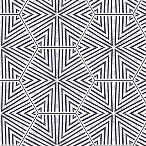Ink Triangles and Hexagons Black and White Upholstery Fabric