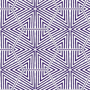 Triangles and Hexagons Purple Upholstery Fabric