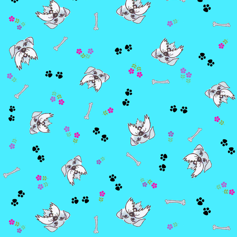 Mini Schnauzer in the Garden fabric by forestwooddesigns on Spoonflower - custom fabric