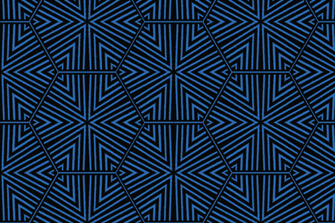 Triangles and Hexagons Blue and Black Upholstery Fabric fabric by llukks on Spoonflower - custom fabric