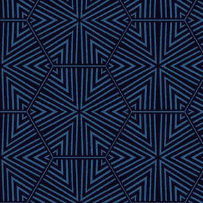 Triangles and Hexagons Blue and Black Upholstery Fabric