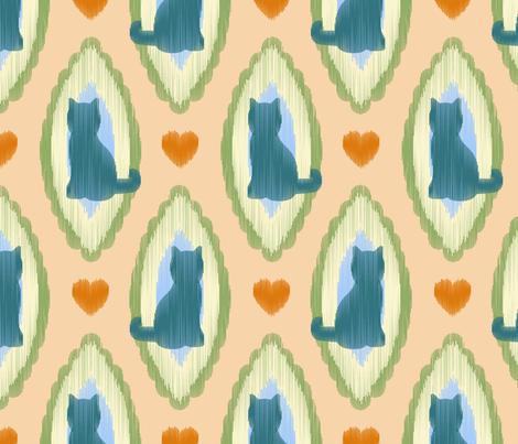 Cat Ikat fabric by moonpuff on Spoonflower - custom fabric