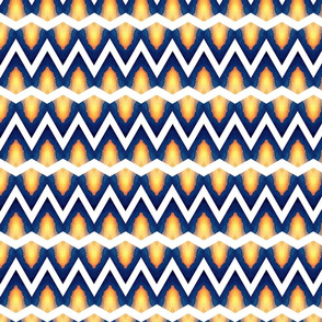 Watercolor Blue and Yellow Zig Zag Upholstery Fabric