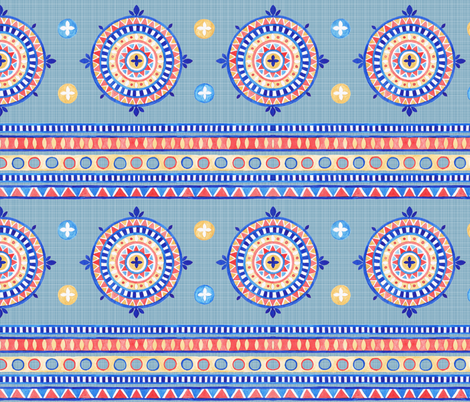 Boho Geo in blue fabric by jc_textiledesign on Spoonflower - custom fabric
