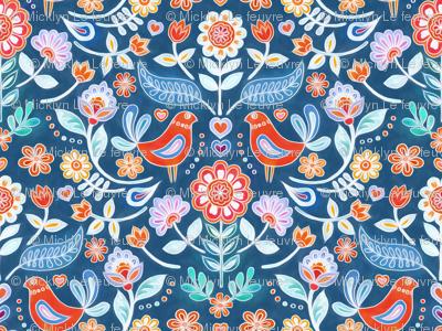 Happy Folk Summer Floral on Blue small print