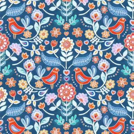 Happy Folk Summer Floral on Blue small print fabric by micklyn on Spoonflower - custom fabric