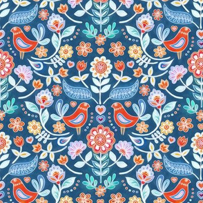 Happy Folk Summer Floral on Blue small print