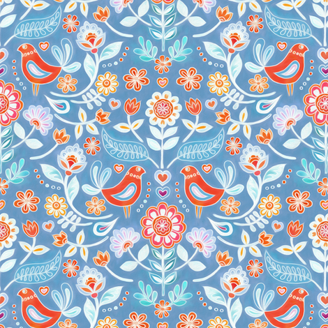 Happy Folk Summer Floral on Light Blue small print fabric by micklyn on Spoonflower - custom fabric