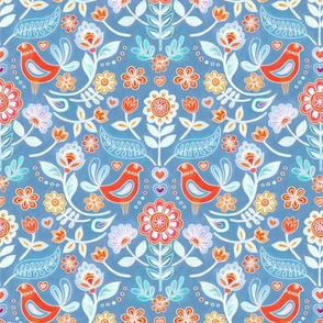 Happy Folk Summer Floral on Light Blue small print
