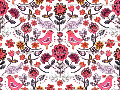 Happy Folk Summer Floral in pink on white small print