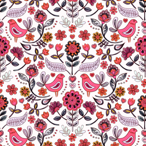 Happy Folk Summer Floral in pink on white small print fabric by micklyn on Spoonflower - custom fabric