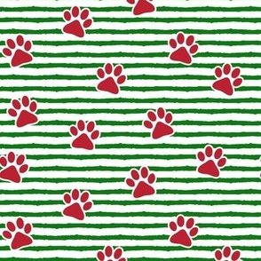 paws on stripes (green and red)