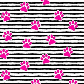 paws on stripes (pink)
