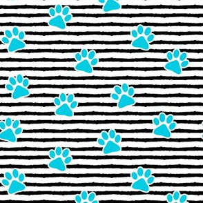 paws on stripes (blue)