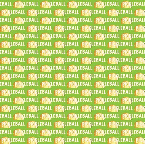Pickleball Text and Ball In Yellow on Field of Green fabric by fabrique_dubois on Spoonflower - custom fabric