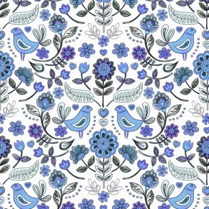 Happy Folk Summer Floral in purple and grey small print