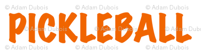 Pickleball Text in Orange on White