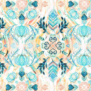 Abstract Painted Boho Pattern in Cyan & Teal