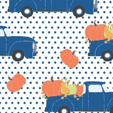 """10"""" Fun At The Pumpkin Patch - Blue Polka Dots fabric by shopcabin on Spoonflower - custom fabric"""