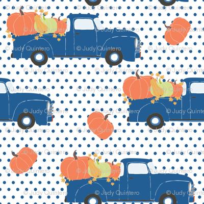 "6"" Fun At The Pumpkin Patch - Blue Polka Dots"