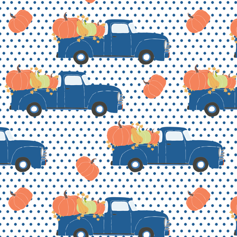 """6"""" Fun At The Pumpkin Patch - Blue Polka Dots fabric by shopcabin on Spoonflower - custom fabric"""