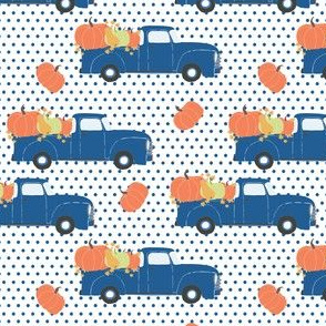 "4"" Fun At The Pumpkin Patch - Blue Polka Dots"