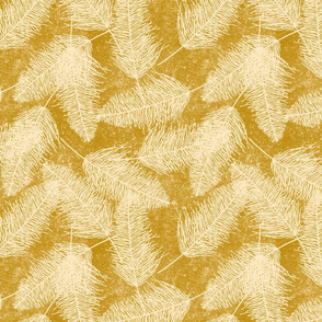 Scattered Feathers on Mustard