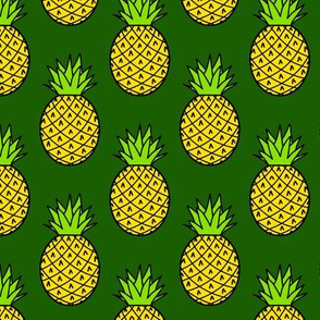 Tropical Pineapples on Green