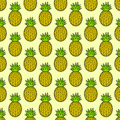 Tropical Pineapples on Yellow