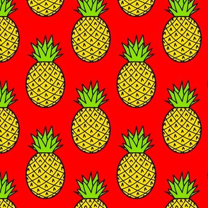 Tropical Pineapples on Red