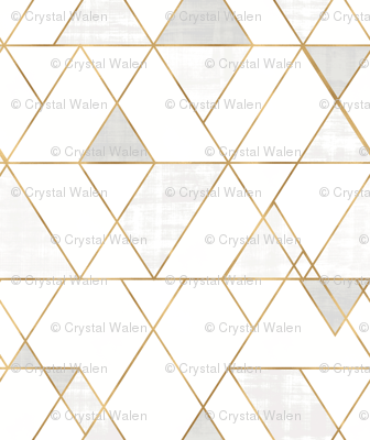 Mod Triangles - white + gold