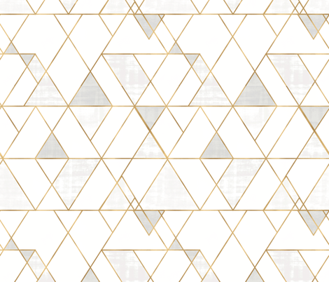 Mod Triangles - white + gold fabric by crystal_walen on Spoonflower - custom fabric