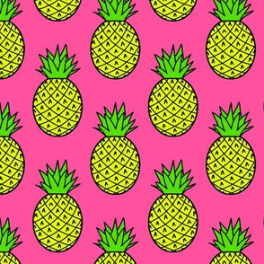 Tropical Pineapples on Pink