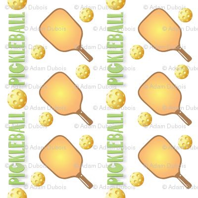 Pickleball Pattern with Paddles, Balls & text