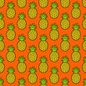 Tropical Pineapples on Orange