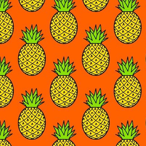Tropical Pineapples on Orange