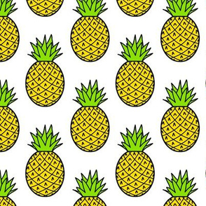 Tropical Pineapples on White
