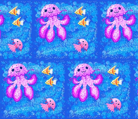 spoonflower_pointilism_jellyfish fabric by bluemoon_hk on Spoonflower - custom fabric