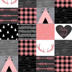 Baby girl wholecloth - pink, gray, black