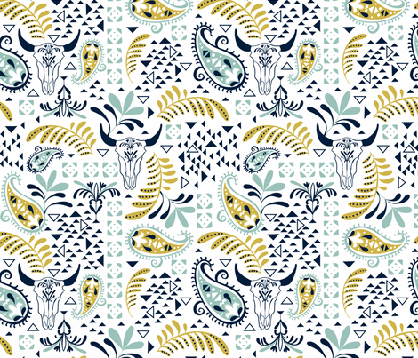 Bohemian Rhapsody White  fabric by heatherdutton on Spoonflower - custom fabric