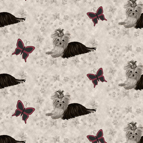 Yorkie - Butterfly Clouds fabric by sherry-savannah on Spoonflower - custom fabric