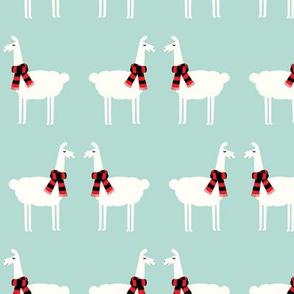 llamas with scarfs - dark mint