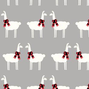 llamas with scarfs - grey