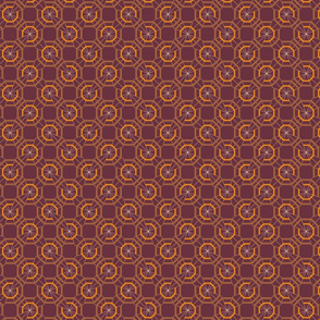 Octagons Linear Reds, Rusts, Oranges