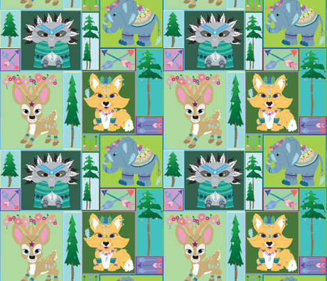 Boho Animal Friends Boxy fabric by everhigh on Spoonflower - custom fabric