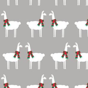 holiday llamas with scarfs