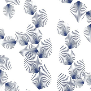 Retro Leaves Indigo on White 200