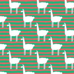 christmas llamas on stripes
