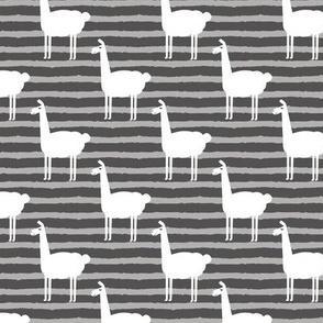 llamas on stripes - grey